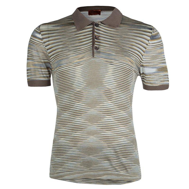 Missoni Multicolor Striped Knit Polo T-Shirt L