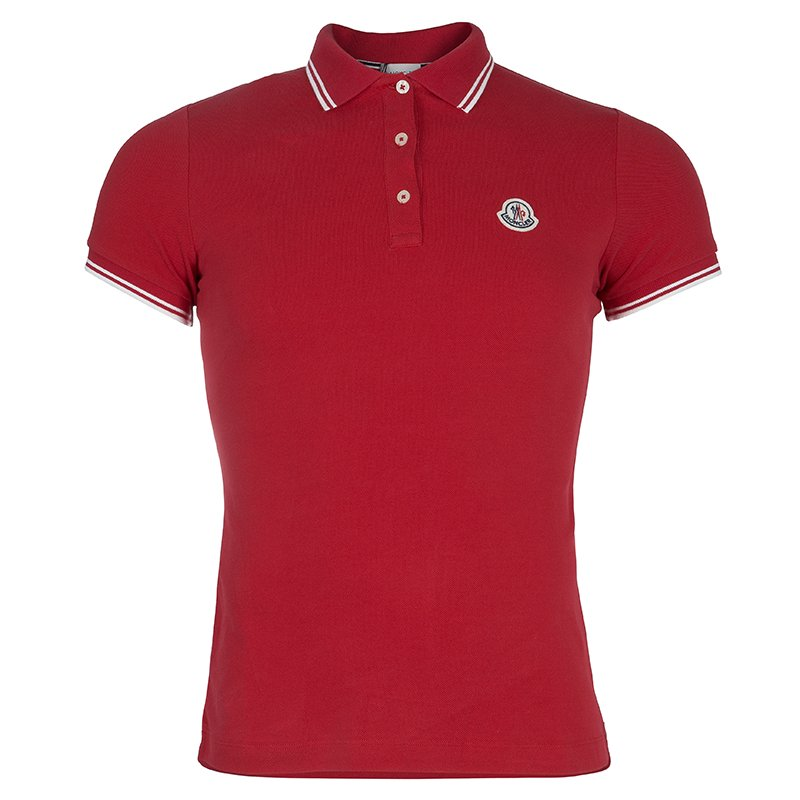 de3f39b5 Buy Moncler Red Logo Patch Polo T-Shirt M 58455 at best price | TLC