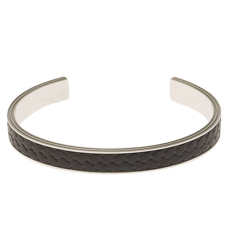 6d75bd884a14e0 Buy Montblanc Grain de Riz Leather and Steel Open Cuff Bracelet For ...