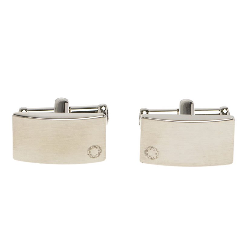 Montblanc Silver Stainless Steel Classic Cufflinks