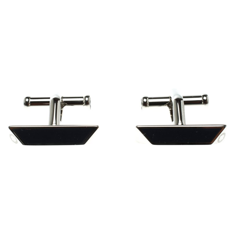 Montblanc Iconic Lines Blue & Black Lacquer Steel Bar Cufflinks
