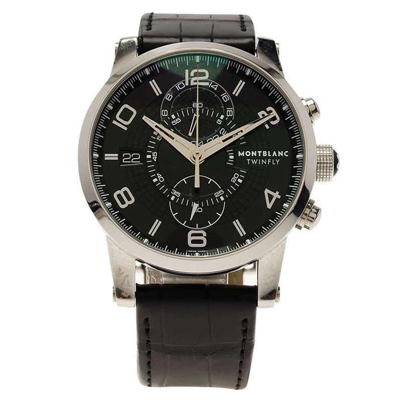 Montblanc Black Stainless Steel Timewalker Twinfly Men's Wristwatch 43MM