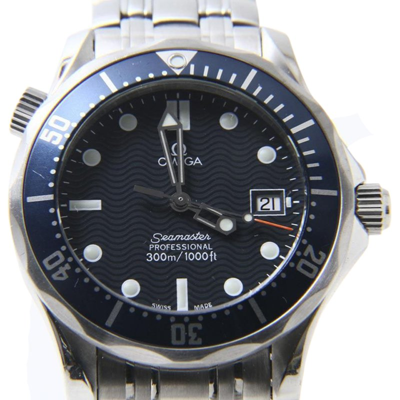 ca7ff33736fa9 Buy Omega Seamaster 300m SS Blue Silver Mens Wristwatch 36mm 44766 ...