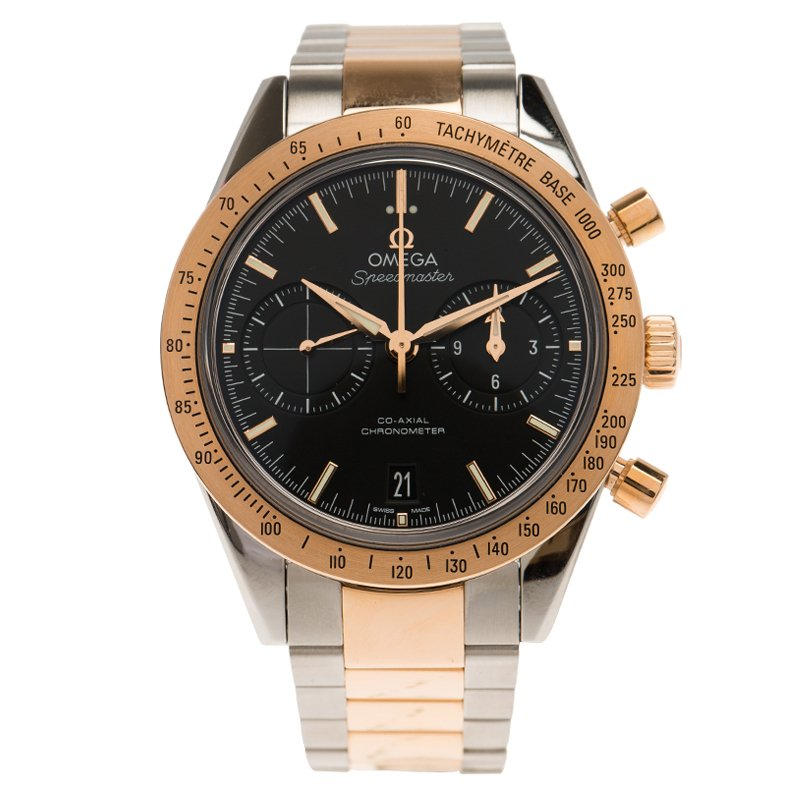 Omega Black 18K Rose Gold and Stainless Steel Speedmaster Men's Wristwatch 41MM