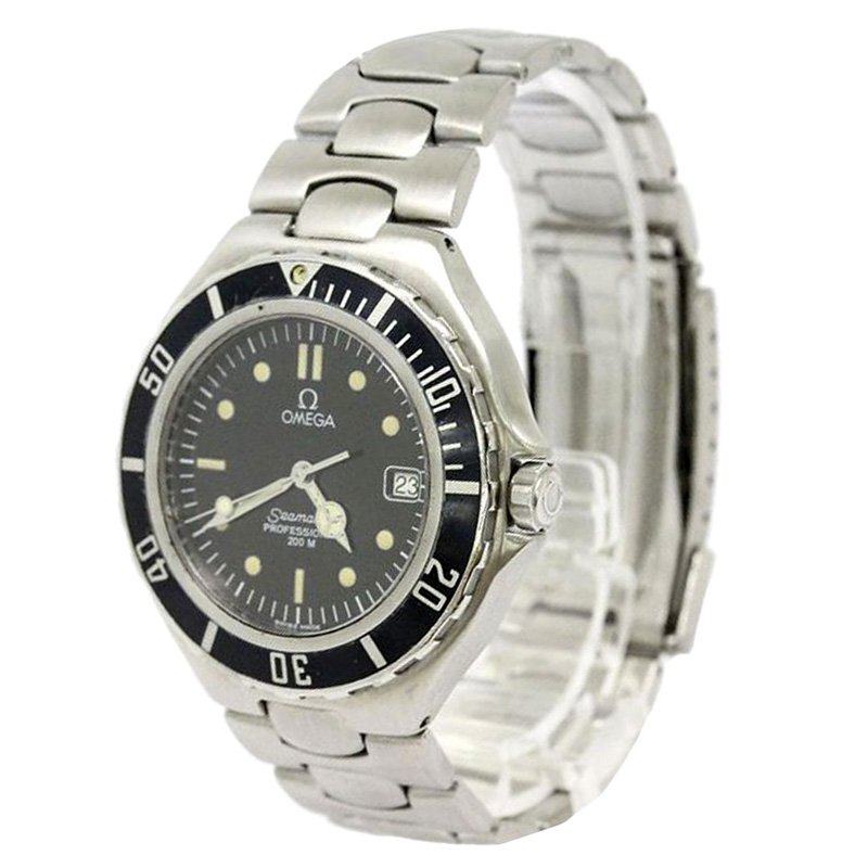 Omega Black Stainless Steel Seamaster Professional Men's Wristwatch 38MM