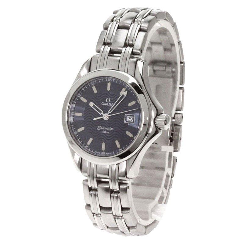Omega Navy Blue Stainless Steel Seamaster Men's Wristwatch 35MM