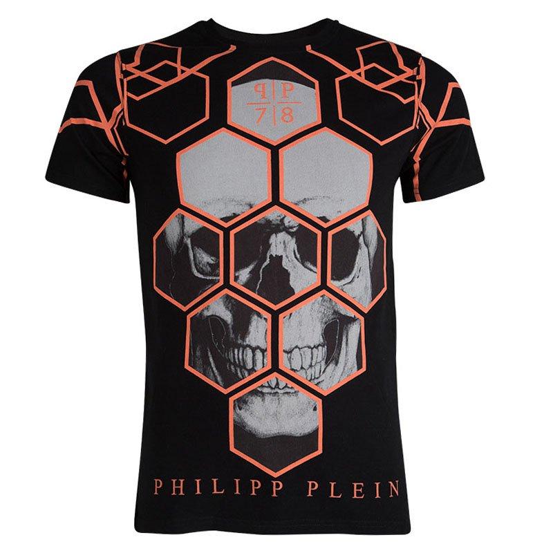 dee2daf7 Buy Philipp Plein Black Orange Contrast Skull Print T-Shirt M 82102 ...