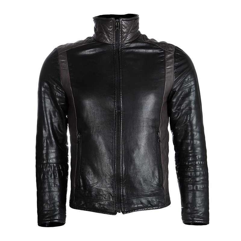 Prada Sport Black Quilted Panel Detail Leather Jacket M
