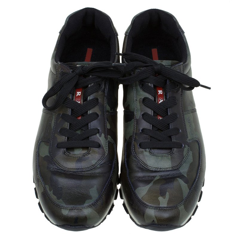 6e620284 Prada Sport Camo Print Leather Running Sneakers Size 42.5