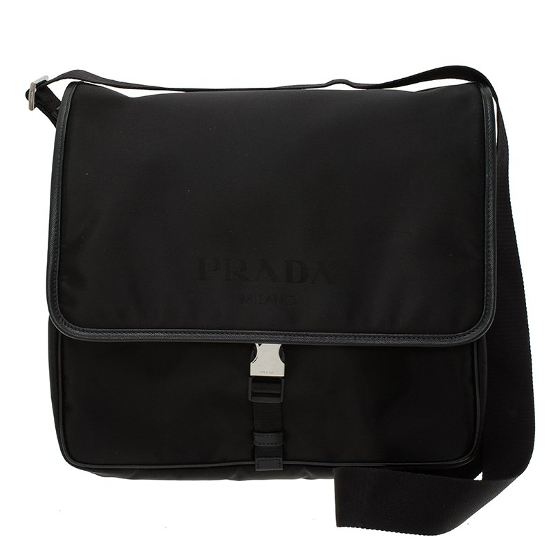 dacc5114157a99 Buy Prada Black Nylon Flap Messenger Bag 58692 at best price | TLC