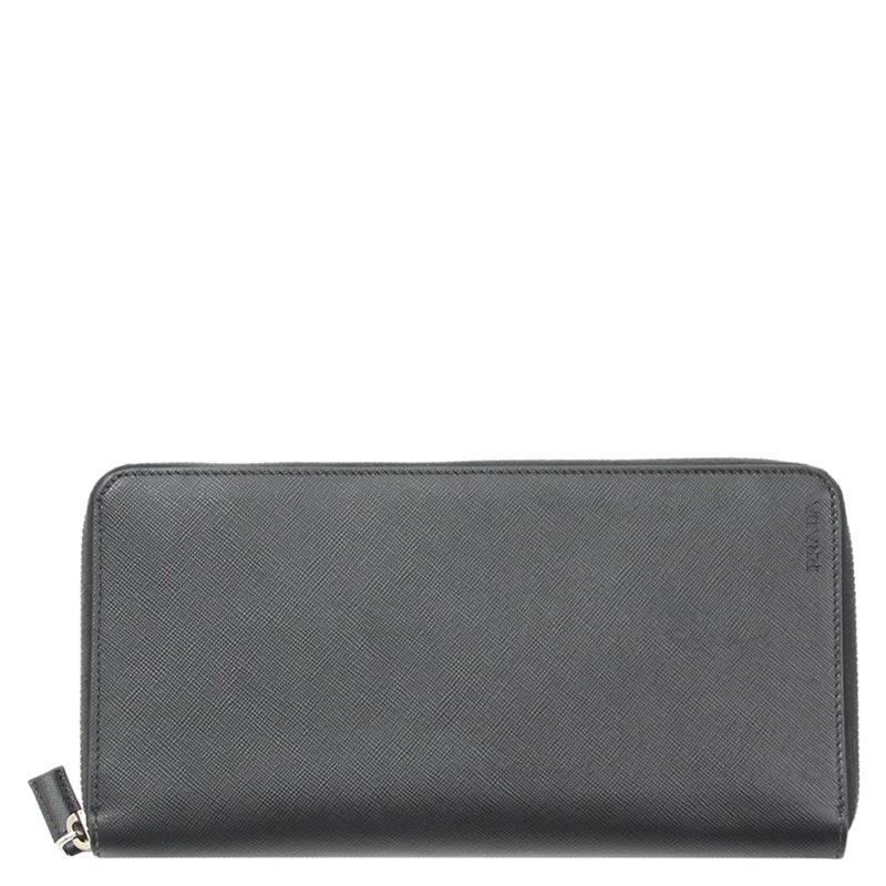 25915c64445d54 ... Prada Black Saffiano Leather Travel Zip Around Wallet. nextprev.  prevnext