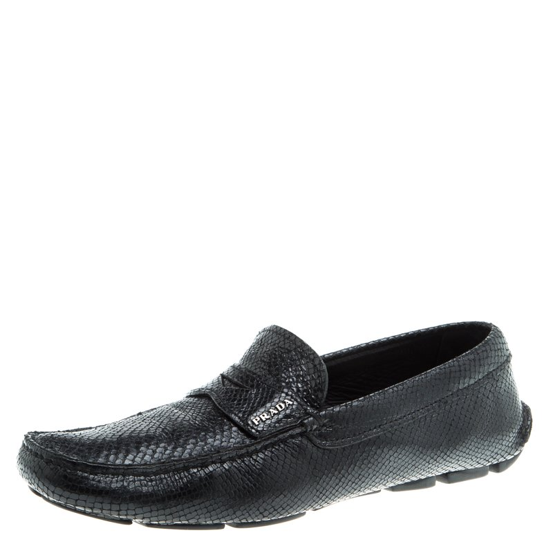 1c1212ebaa5 Buy Prada Black Reptile Leather Penny Loafers Size 42 96038 at best ...