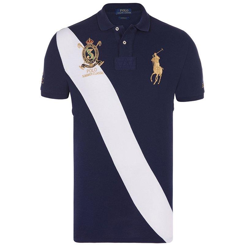 945d7ae07586 ... Polo Ralph Lauren Navy Blue White Stripe Logo Polo Shirt L. nextprev.  prevnext