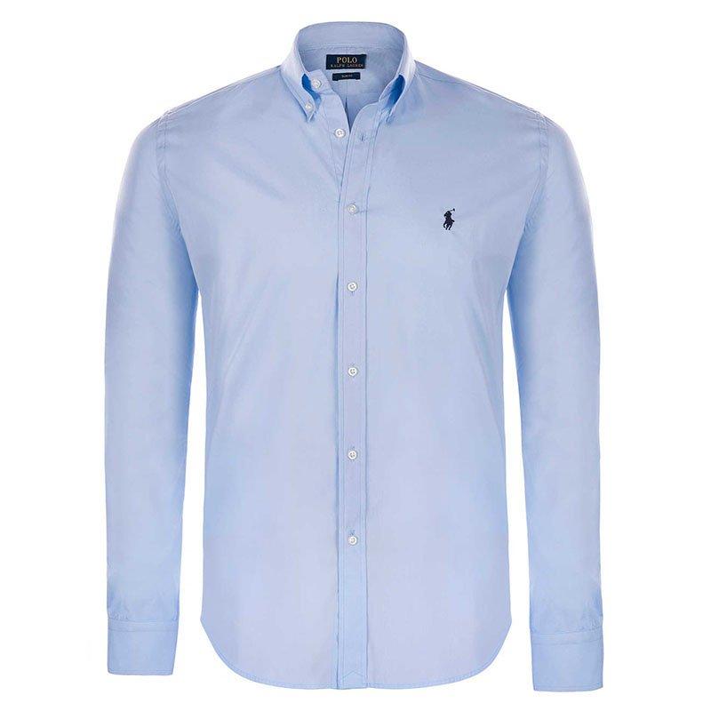 4aa30a9d Buy Polo Ralph Lauren Light Blue/Black Logo Long Sleeve Shirt XL ...