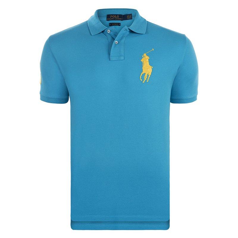 Polo Ralph Lauren Turquoise/Yellow Logo Polo Shirt M