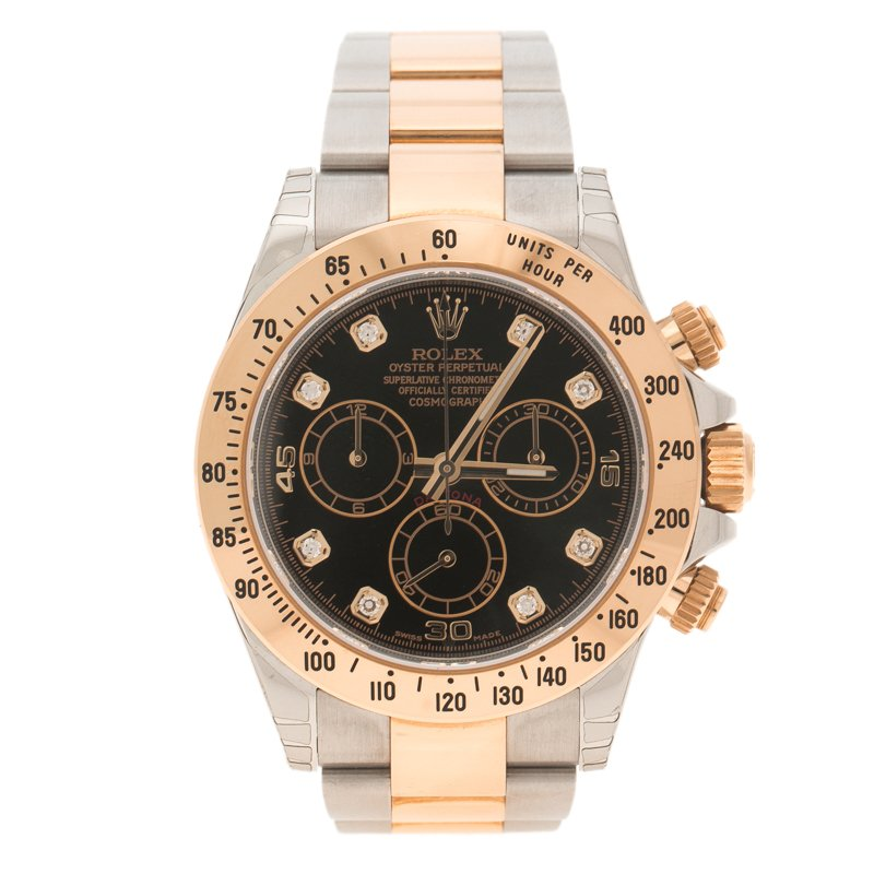 Rolex Black Stainless Steel and Gold Cosmograph Daytona Men's Wristwatch 38 mm