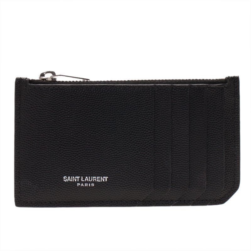 online retailer bb3e8 b3bc9 Saint Laurent Paris Black Zipped Leather Card Holder