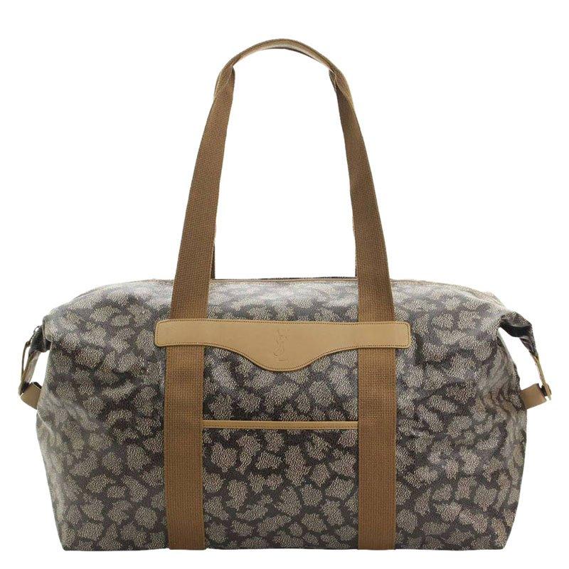 حقيبة دفل سان لوران باريس دفل كانفاس مقوى بني/رصاصي