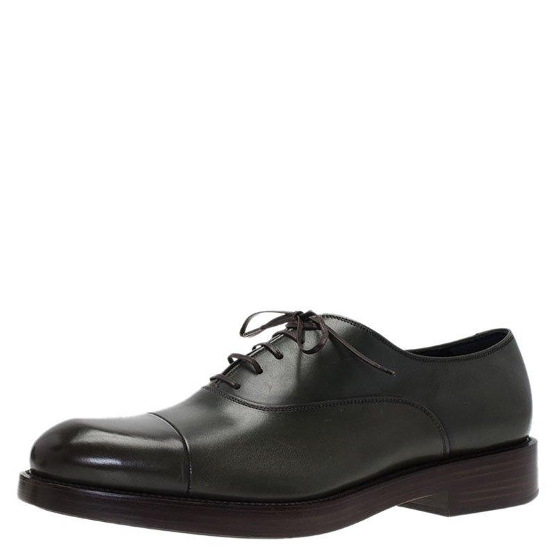Salvatore Ferragamo Olive Green Leather Pride Oxfords Size 43