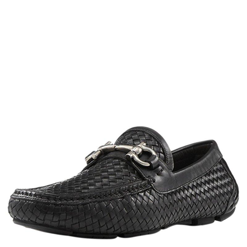 e7ad6f2a836 ... Salvatore Ferragamo Black Woven Leather Parigi Gancio Bit Loafers Size  41.5. nextprev. prevnext