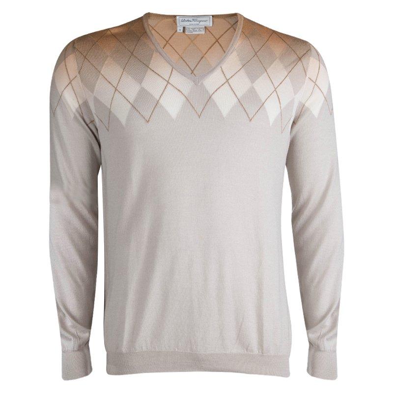 8335ebb2377e2 Buy Salvatore Ferragammo Beige Argyle Pattern V-Neck Sweater M 82484 ...