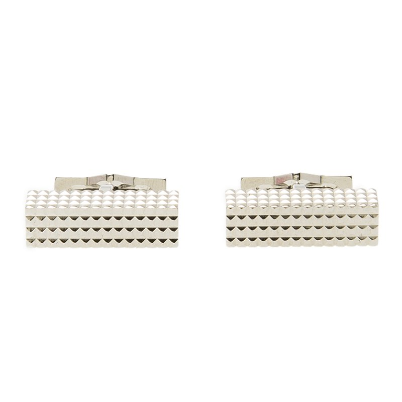 S.T. Dupont Square Diamond Head Collection Rectangular Palladium Plated Men's Cufflinks