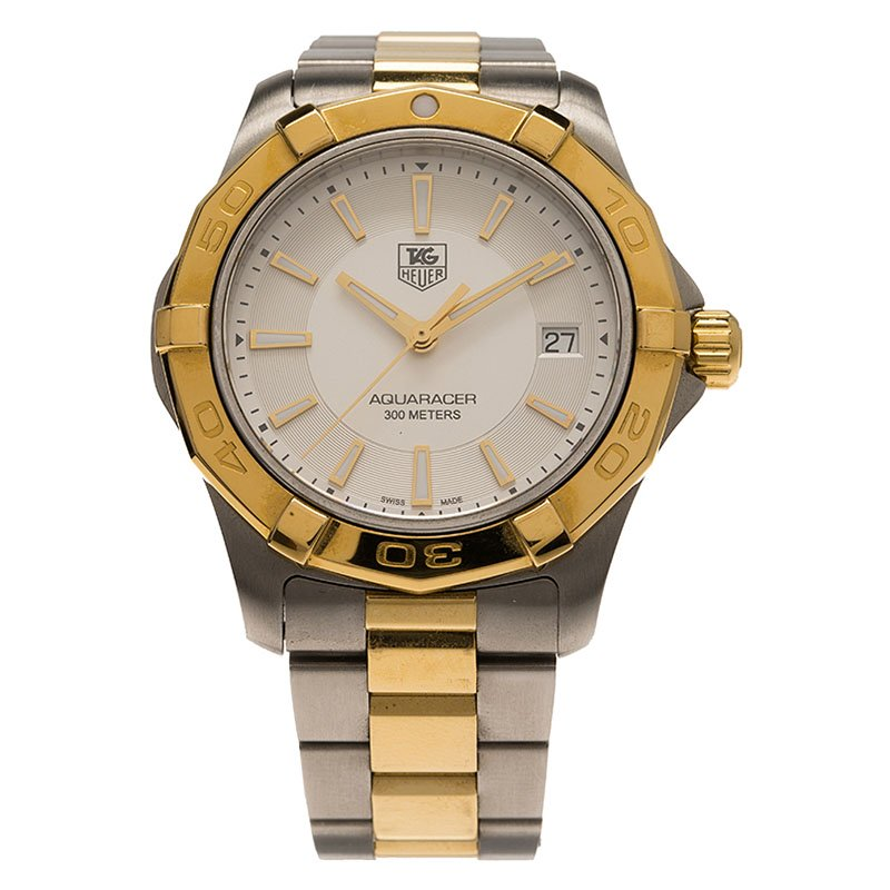 787607877b068 ... Tag Heuer Silver Gold-Plated Stainless Steel Aquaracer Men's Wristwatch  39MM. nextprev. prevnext