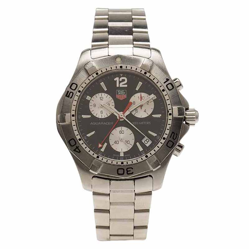 Tag Heuer Black Stainless Steel Aquaracer Chronograph CAF1110 Men's Wristwatch 42MM