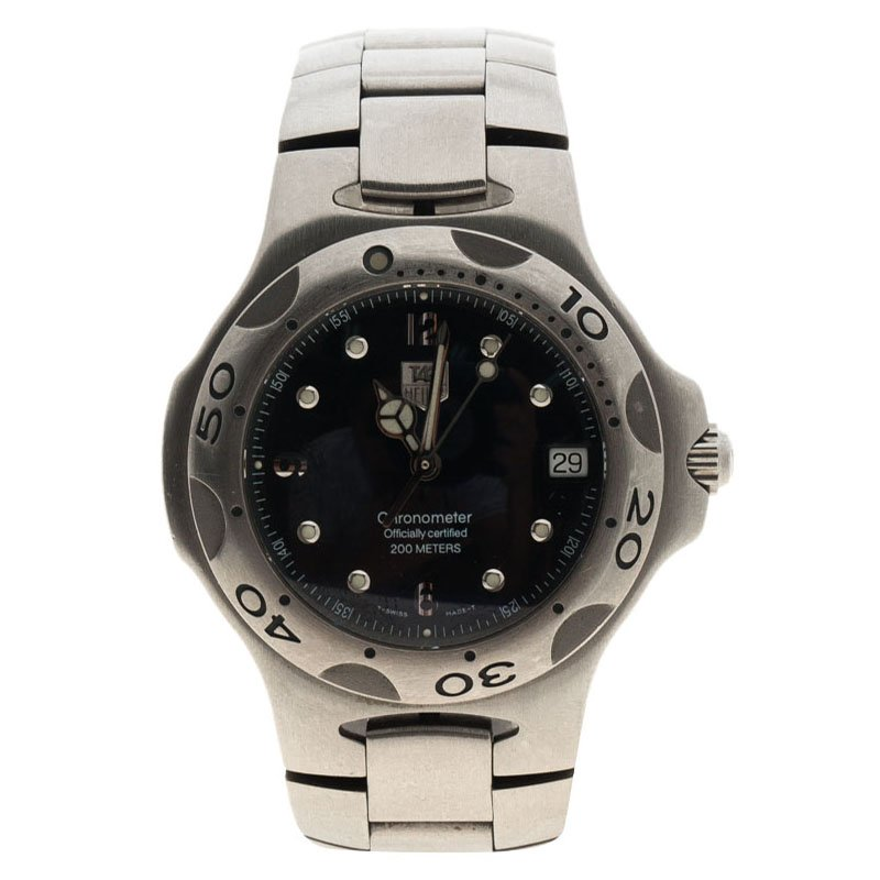 Tag Heuer Black Stainless Steel Kirium Wl 5111 Chronometer Men S Wristwatch 37mm