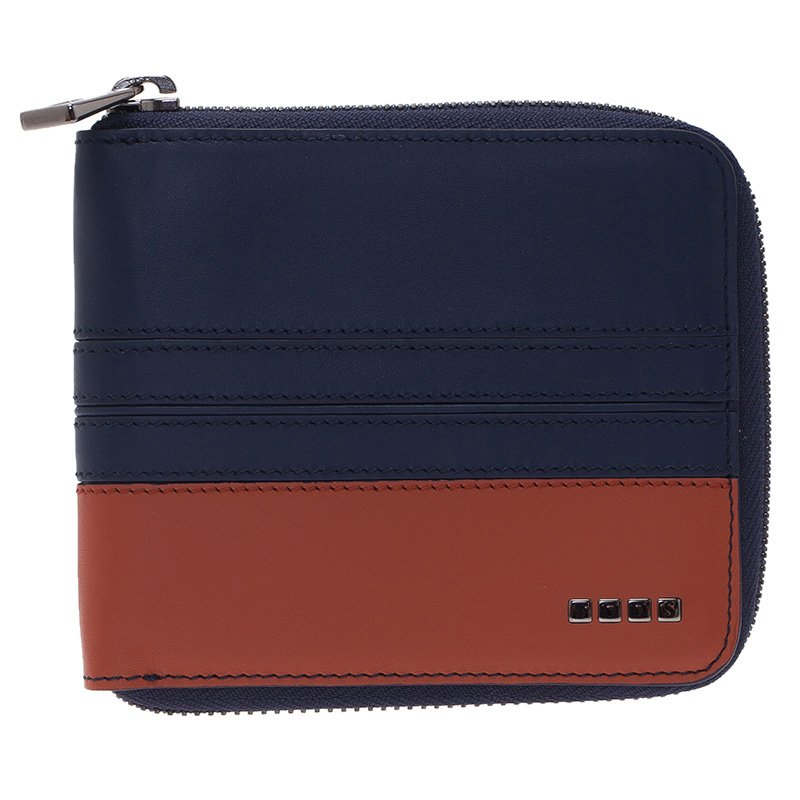 Tod's Two Tone Leather Zip-Around Compact Wallet
