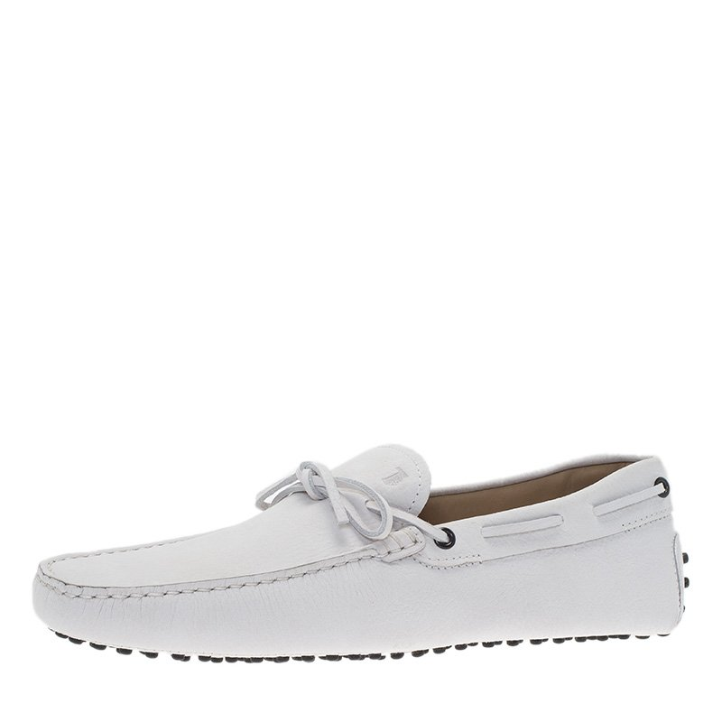 Tod's White Leather Bow Loafers Size 43.5
