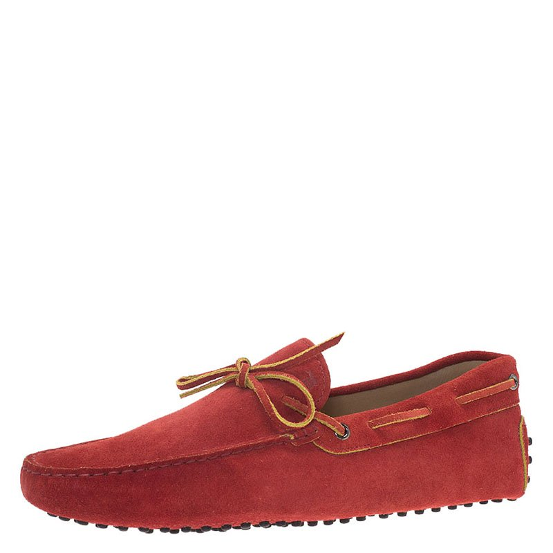 Tod's Red Suede Bow Loafers Size 43