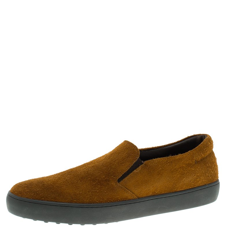 Tod's Brown Suede Slip On Sneakers Size 44