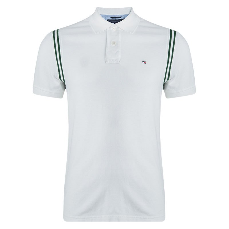 Tommy Hilfiger White Short Sleeve Slim Fit Polo T-Shirt M