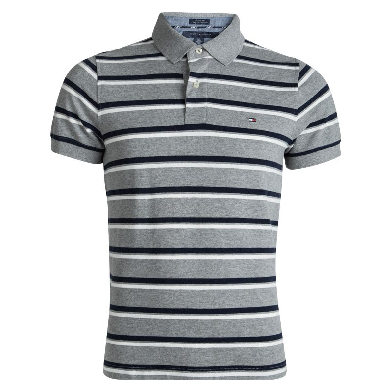 d93b508f Buy Tommy Hilfiger Grey and Navy Blue Striped Custom Fit Polo T ...