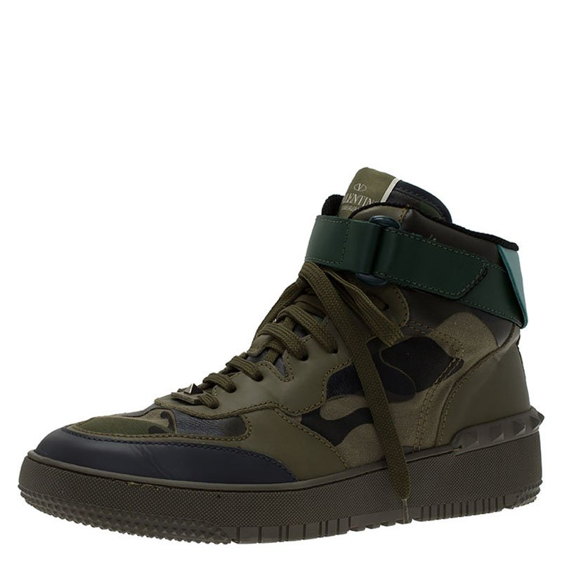 196353c64e Buy Valentino Green Camouflage Print Leather High Top Sneakers Size ...