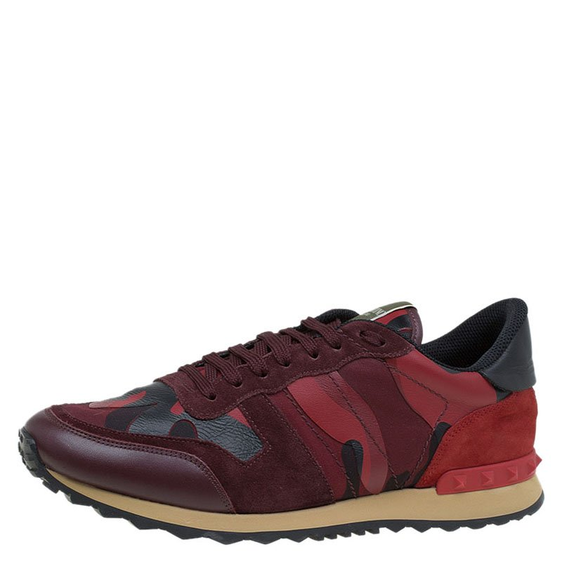 c38b642ba26b7 Buy Valentino Red Camouflage Leather and Suede Rockrunner Sneakers ...