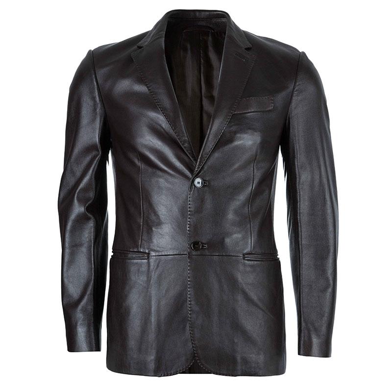 4b8d5fe6f7 Z Zegna Mens' Black Leather Jacket M