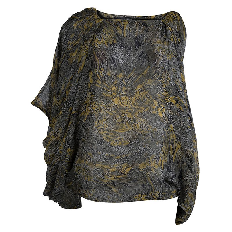 Alexander McQueen Silk Printed Drape Top S