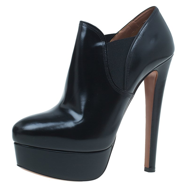Azzedine Alaia Black Leather and Elastic Panel Ankle Boots Size 39