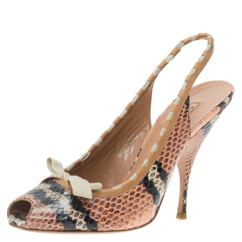 a5e942dc49a4 Buy Azzedine Alaia Brown Python Bow Detail Slingback Sandals Size 39 ...