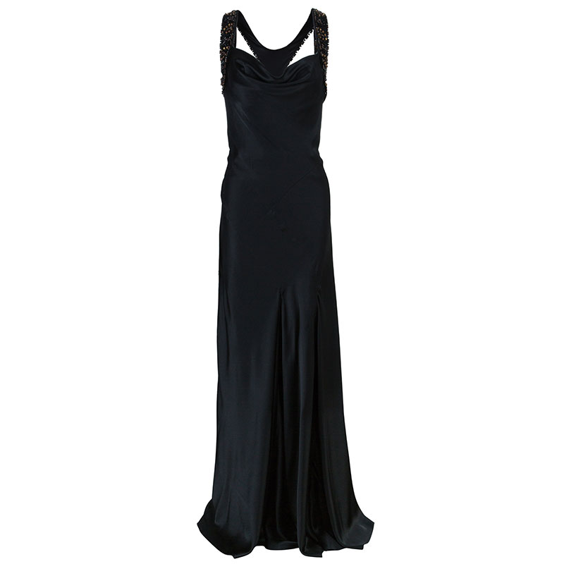 Alberta Ferretti Black Embellished Evening Gown L