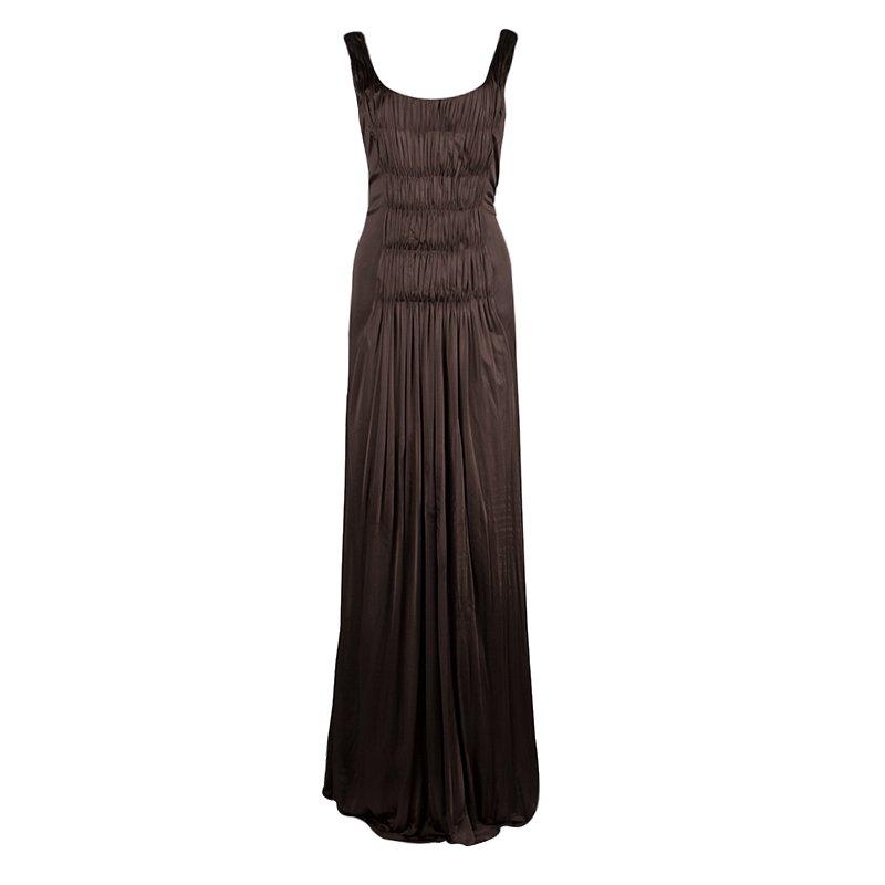 Alberta Ferretti Brown Knit Smocking Detail Sleeveless Gown M