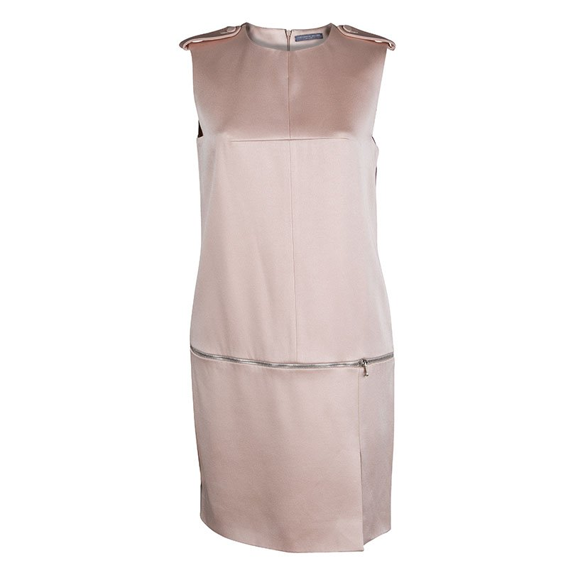 Alexander McQueen Pale Pink Washed Satin Zip Detail Sleeveless Dress S