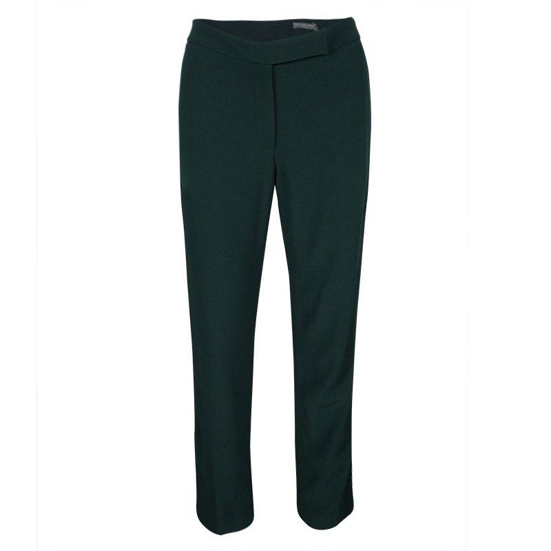 Alexander McQueen Green Leaf Crepe Loose Fit Cropped Pants M