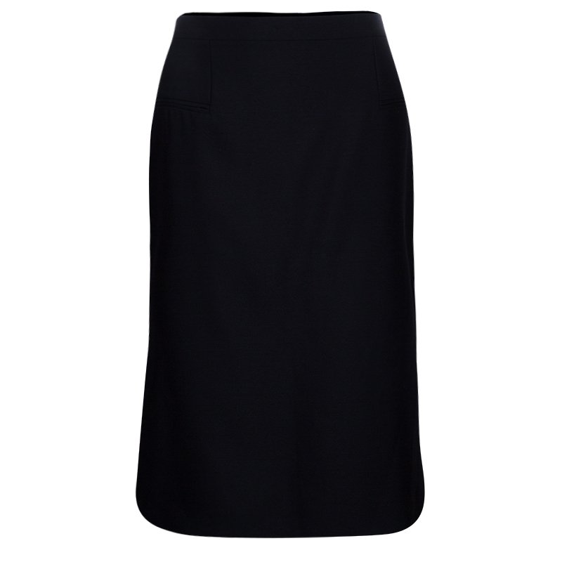 Alexander McQueen Black Wool and Silk Skirt L