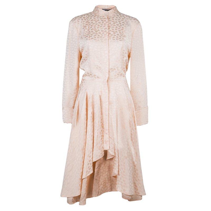 Alexander McQueen Pink Jacquard Leaf Motif Long Sleeve Shirt Dress M