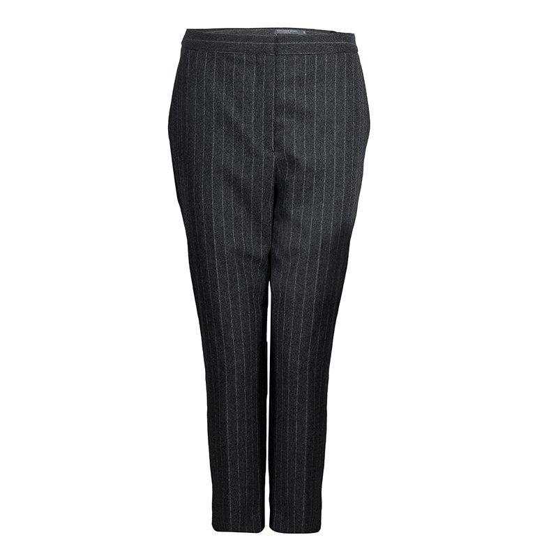 Alexander McQueen Grey Chalk Striped Wool Trousers M
