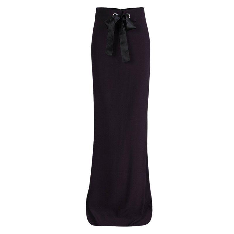 Alexander McQueen Purple Leaf Crepe Bow Detail Maxi Skirt S