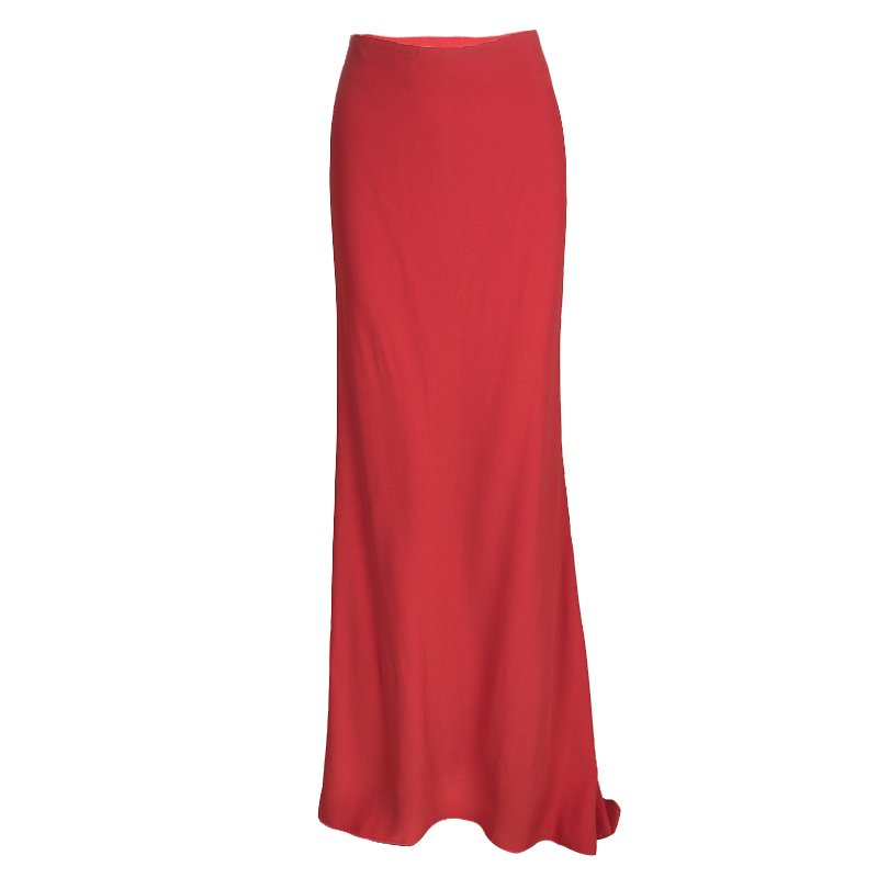 Alexander McQueen Red Crepe Flared Maxi Skirt S